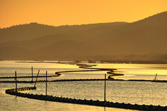 Taihu Jeziorny zmierzch w jesieni Zdjęcia Stock
