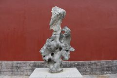 The Taihu Lake stone in Shenyang Palace Museum, China royalty free stock image