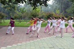 Taiji. Chinese girls playing taiji in park Royalty Free Stock Images