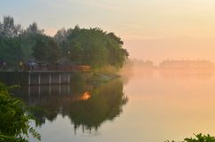 Taiji Misty Morning Serangoon Reservoir Singapore Stock Photography