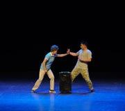 Taiji poussant les gens du commun de tante-Le de danse carrée de saut de main-croquis la grande étape Photos libres de droits