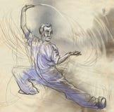Taiji (Tai Chi) En normalformat hand dragen illustra royaltyfri illustrationer