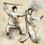 Taiji (Tai Chi). An full sized hand drawn illustra Royalty Free Stock Photo
