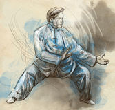 Taiji (Tai Chi). An full sized hand drawn illustra Royalty Free Stock Photos