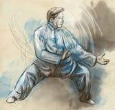 Taiji (Tai Chi). An full sized hand drawn illustra Royalty Free Stock Photos