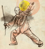 Taiji (Tai Chi). An full sized hand drawn illustra Royalty Free Stock Image