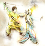 Taiji (Tai Chi). An full sized hand drawn illustra Stock Images