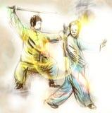 Taiji (Tai Chi). An full sized hand drawn illustra