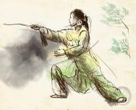 Taiji (Tai Chi) Un illustra dibujado mano del mismo tamaño stock de ilustración