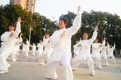 Taijiquan d'esecuzione collettivo anziano pensionato cinese Fotografia Stock Libera da Diritti