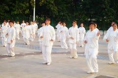 Taijiquan de ejecución colectivo mayor jubilado chino Imagen de archivo