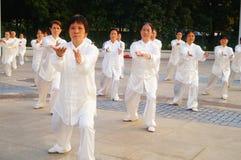 Taijiquan de ejecución colectivo mayor jubilado chino Fotografía de archivo