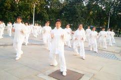 Taijiquan de ejecución colectivo mayor jubilado chino Fotos de archivo libres de regalías