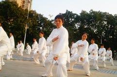 Taijiquan de execução coletivo idoso aposentado chinês Imagens de Stock Royalty Free