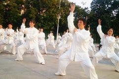 Taijiquan de execução coletivo idoso aposentado chinês Foto de Stock Royalty Free