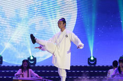Taijiquan exercise of man in white Royalty Free Stock Images