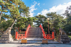 Taiko Bashi Drum Bridge bij het Grote Heiligdom van Sumiyoshi in Osaka, Jaapan royalty-vrije stock foto's