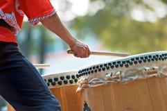 Taiko Drummer Closeup. At performance Royalty Free Stock Image