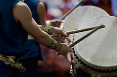 Taiko drummers. Preform during the Nisei Week festival Royalty Free Stock Images