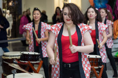 Taiko drummers girls Royalty Free Stock Images
