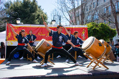 Taiko drummers. San Jose Taiko showcases their rich repertoire and shares their dynamic style for Chinese New Year Stock Image