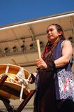 Taiko Drumming. A young woamn demonstrates Taiko drumming at an event in Newark, New Jersey Royalty Free Stock Photography