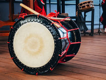 Taiko drums o-kedo on scene background. Culture of Asia Korea, Japan, China.  stock photography