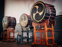 Taiko drums o-kedo on scene background. Musical instrument of Asia Royalty Free Stock Photography