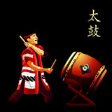 Taiko drums show poster. Japanese taiko drummer performance at scene Stock Photography