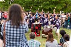 Taiko performance kumi-daiko drummers stock images