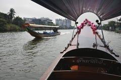 Tailândia, Banguecoque, barcos tailandeses tipical Imagem de Stock Royalty Free