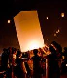 Tailândia, cerimônia de Loykrathong Fotos de Stock Royalty Free