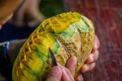 Tailândia cinzelou a abóbora com mão Fotos de Stock Royalty Free