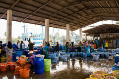 Tailândia - 21 de janeiro: mercado de peixes da aldeia piscatória, si de Nakhon Fotos de Stock Royalty Free
