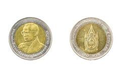 Tailândia dez rei Rama 9 do aniversário da moeda 2007 do baht 80th Imagem de Stock