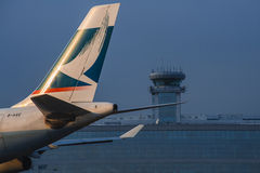 The tail of the Airbus 340-500 Cathay Pacific Airlines b-hxe Royalty Free Stock Image