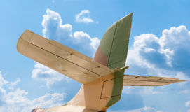 Tail of aircraft, blue sky background Royalty Free Stock Photos