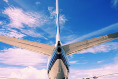 Tail of airplane. See an airplane form behind Stock Photography