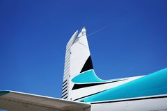 Tail of an Airplane against the Blue Sky royalty free stock images
