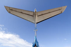 Tail of an airplane and blue air Stock Images