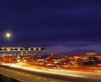 Tail backs of traffic at toll gate in California Stock Photos