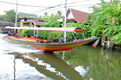 Tail boat on canal Royalty Free Stock Images