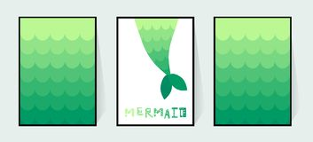 Tail cartoon mermaid. Vector wall decor in the bathroom for a girl. Prints on invitations cards. Gradient green fishtail. stock illustration