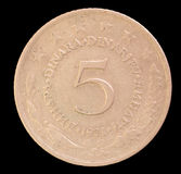 Tail of 5 dinar coin, issued by Yugoslavia in 1971 Royalty Free Stock Photography