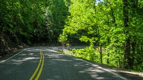 The Tail of the Dragon in North Carolina and Tennessee. The Tail of the Dragon or Dragon`s Tail is 11 miles of road famous for its 318 curves and is a popular royalty free stock photography