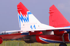 Tail and engines of fighter Royalty Free Stock Photos