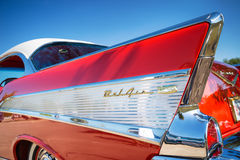 Tail fin of 1957 Chevrolet Bel Air Stock Photo