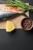 Tail of fresh raw mackerel Stock Photos