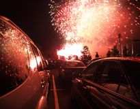Tail Gate Party. Autos and explosions.  A middle america parking lot party Stock Photography