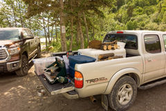 Tail-gating in alaska during salmon season Royalty Free Stock Photos